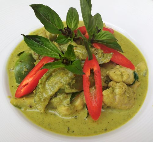 Green Curry with Chicken in a bowl