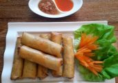 Spring Rolls (Por Pia) with Pineapple Sauce
