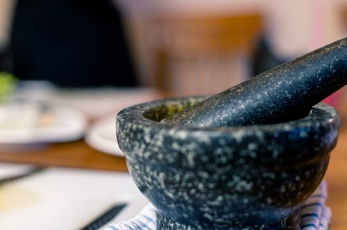 A pestle and mortar is an essential piece of equipment to cook Thai food